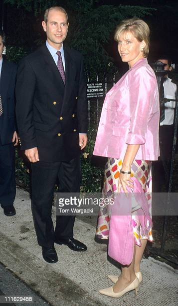 Prince Edward and Sophie RhysJones during David Frost's Garden Party July 05 2000 at Chelsea in London Great Britain