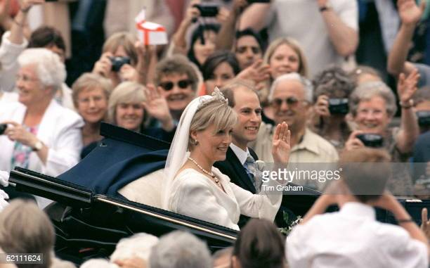 Prince Edward And Sophie Rhysjones In A Carriage On The Day Of Their Wedding