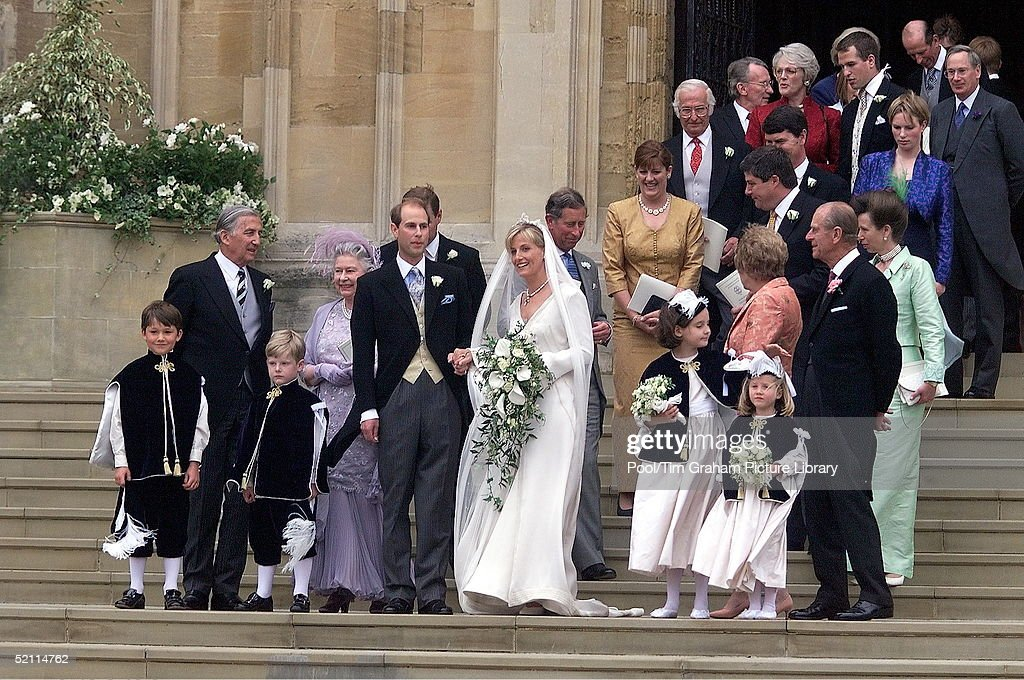 Prince Edward And Sophie Rhys Jones With Members Of Their Family After Wedding At