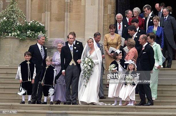 Prince Edward And Sophie Rhysjones With Members Of Their Family After Their Wedding At St George's Chapel Windsor
