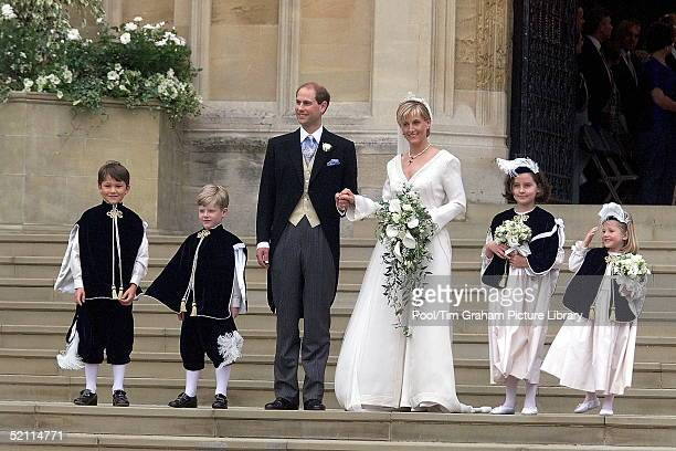 Prince Edward And Sophie Rhys-jones With Page Boys And Bridesmaids Felix Sowerbutts, Henry Warbuton, Camilla Hadden And Olivia Taylor After The...