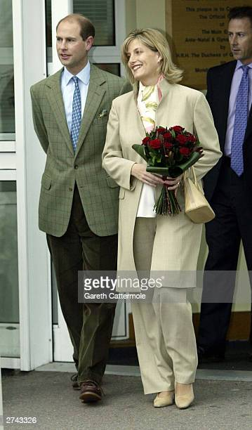 Prince Edward and Sophie Wessex leave the Frimley Park Hospital November 19 2003 in Surrey