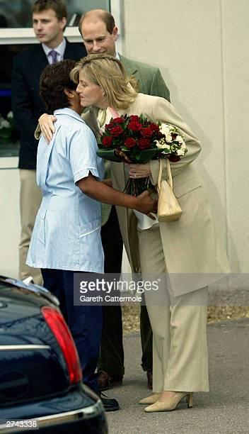 Prince Edward and Sophie Wessex leave the Frimley Park Hospital November 19 2003 in Surrey England