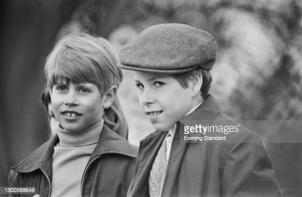 Prince Edward and Viscount Linley at the Badminton Horse Trials, UK, April 1973.