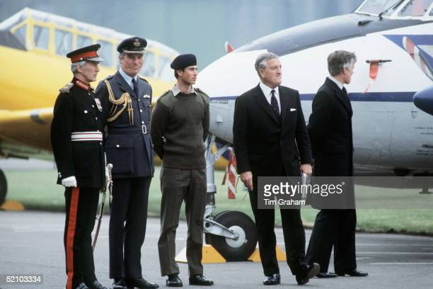 Prince Edward At Raf Benson In Royal Marines Uniform With Queen's Private Secretary Sir Philip Moore And Left Of Picture The Lord Lieutenant Of...