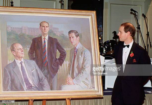 Prince Edward At The President's Ball At The Grosvenor House Hotel, In London, As President Of The Lord's Taveners Views A Painting Of Himself With...