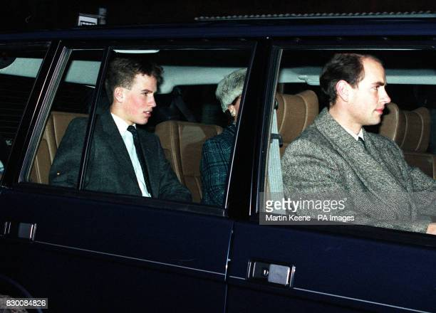 Prince Edward drives Peter Phillips the son of the Princess Royal to attend the wedding of his mother to Commander Tim Laurence at Craithie Church...