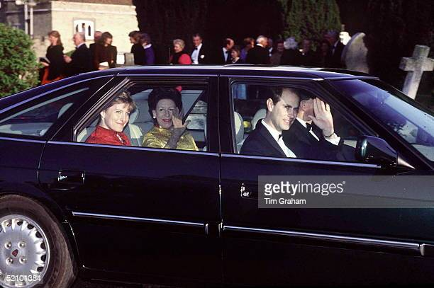 Prince Edward Driving His Rover Car With Sophie Rhysjones And Princess Margaret Attending Wedding Of Lord Ivor Mountbatten