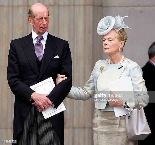 Prince Edward, Duke of Kent and Katharine, Duchess of Kent attend a Service of Thanksgiving to celebrate Queen Elizabeth II's Diamond Jubilee at St...