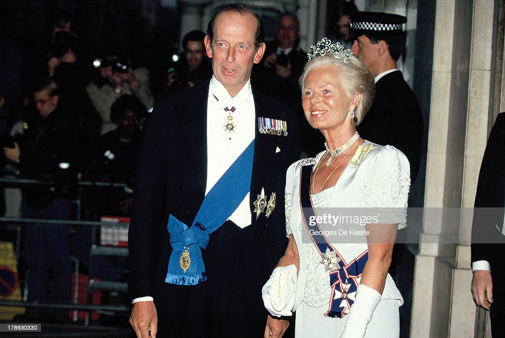 Prince Edward, Duke of Kent, and Katharine, Duchess of Kent, attend the State Banquet given by Former Polish President Lech Walesa in honor of the Queen on April 25, 1991 in London, England.