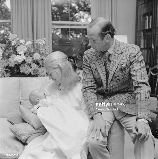 Prince Edward, Duke of Kent and Katharine, Duchess of Kent posed with their baby son Nicholas Windsor at home in London on 10th September 1970.