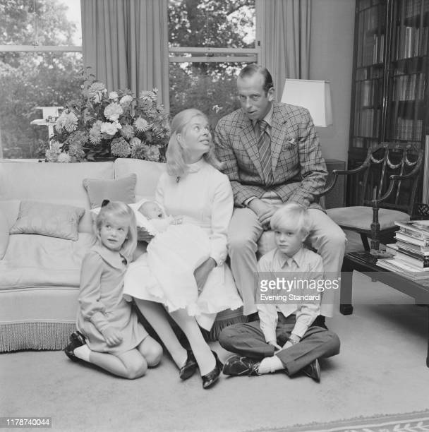 Prince Edward, Duke of Kent and Katharine, Duchess of Kent posed with their children George Windsor, Helen Windsor and baby son Nicholas Windsor at...