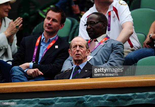 Prince Edward Duke of Kent and president of the All England Lawn Tennis and Croquet Club watches the men's singles gold medal match of the London...