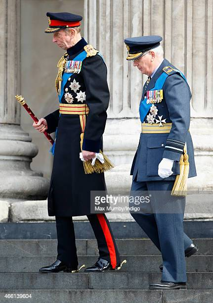 Prince Edward, Duke of Kent and Prince Richard, Duke of Gloucester attend a Service of Commemoration to mark the end of combat operations in...