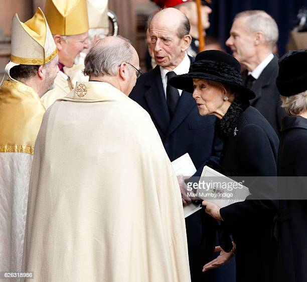 Prince Edward Duke of Kent and Princess Alexandra attend a Memorial Service for Gerald Grosvenor 6th Duke of Westminster at Chester Cathedral on...