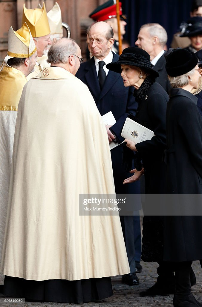 Prince Edward, Duke of Kent and Princess Alexandra attend a Memorial Service for Gerald Grosvenor, 6th Duke of Westminster at Chester Cathedral on November 28, 2016 in Chester, England. Gerald Cavendish Grosvenor, 6th Duke of Westminster died aged 64 on August 9, 2016 and is survived by his wife, The Duchess of Westminster, Natalia Grosvenor, daughters Lady Tamara van Cutsem, Lady Edwina Snow and Lady Viola Grosvenor and his 25-year-old son and heir Hugh Grosvenor, 7th Duke of Westminster.