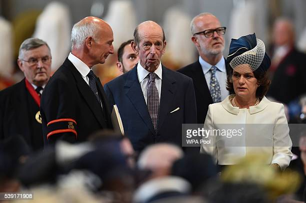 Prince Edward Duke of Kent arrives for a service of thanksgiving for Queen Elizabeth II's 90th birthday at St Paul's cathedral on June 10 2016 in...