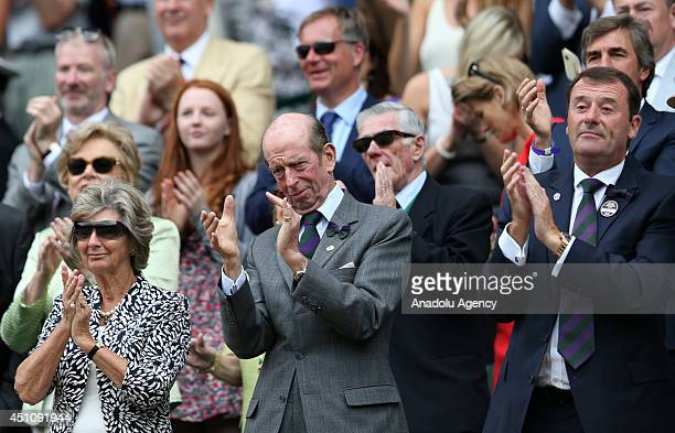Prince Edward Duke of Kent arrives for the Gentlemen's Singles first round match between Andy Murray and David Goffin of Belgium on day one of the...