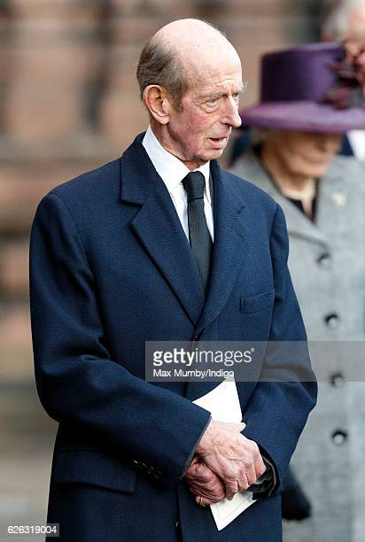 Prince Edward, Duke of Kent attends a Memorial Service for Gerald Grosvenor, 6th Duke of Westminster at Chester Cathedral on November 28, 2016 in...