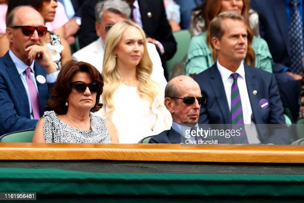 Prince Edward Duke of Kent attends the Royal Box during the Men's Singles final between Novak Djokovic of Serbia and Roger Federer of Switzerland...