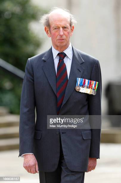 Prince Edward, Duke of Kent attends the Scots Guards Regimental Remembrance Sunday Service at the Guards Chapel, Wellington Barracks on April 14,...