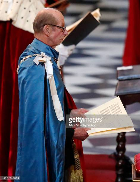 Prince Edward Duke of Kent Grand Master of The Most Distinguished Order of Saint Michael and Saint George attends a Service of Commemoration and...