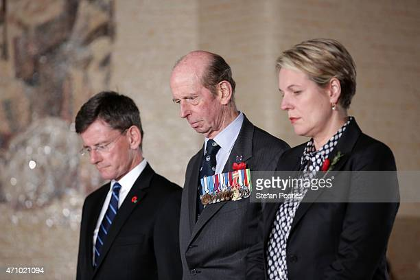 Prince Edward Duke of Kent lays a wreath at the Tomb of the Unknown Soldier along side Deputy Opposition leader Tanya Plibersek and Chris Finlayson...