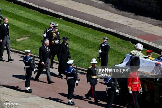 Prince Edward, Duke of Kent, Prince Charles, Prince of Wales and Princess Anne, Princess Royal during the funeral of Prince Philip, Duke of Edinburgh...