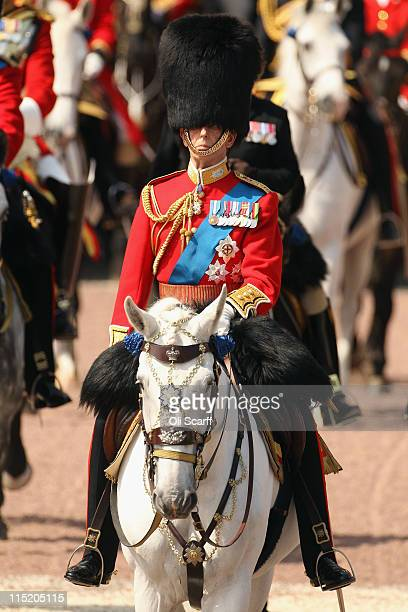 Prince Edward Duke of Kent rides to attend the Colonel's Review in Horse Guards Parade on June 4 2011 in London England The Colonel's Review is the...
