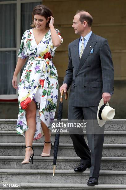 Prince Edward Duke of Wessex and Princess Eugenie arrive during a day of DofE presentations at Buckingham Palace on May 24 2018 in London England...