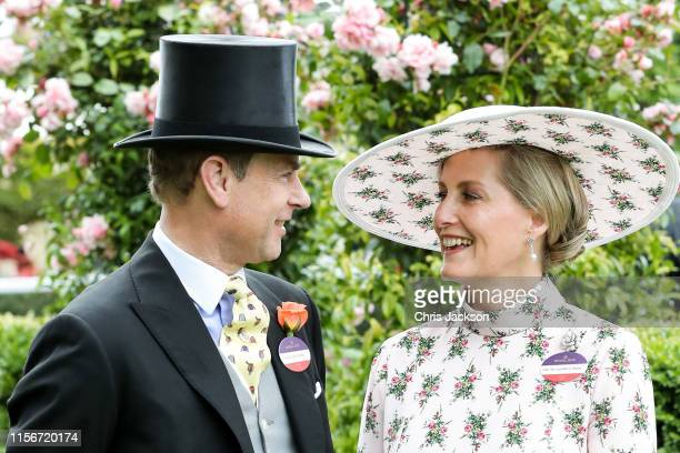 Prince Edward, Duke of Wessex and Sophie, Countess of Wessex pose for photographs ahead their 20th wedding anniversary on day one of Royal Ascot at...