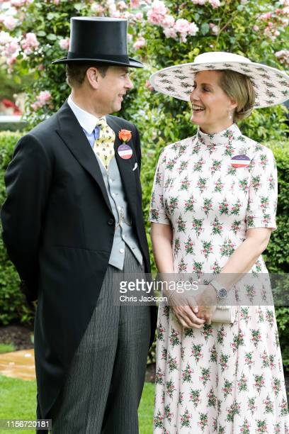 Prince Edward Duke of Wessex and Sophie Countess of Wessex pose for photographs ahead their 20th wedding anniversary on day one of Royal Ascot at...