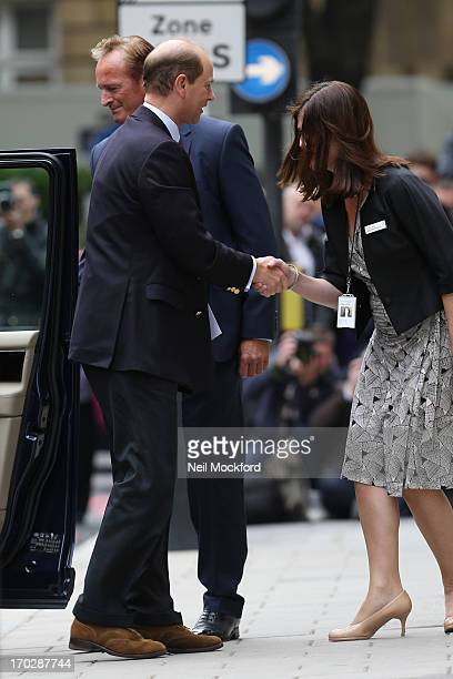 Prince Edward Duke of Wessex sighting at The London Clinic visiting Prince Philip Duke of Edinburgh June 10 2013 in London England