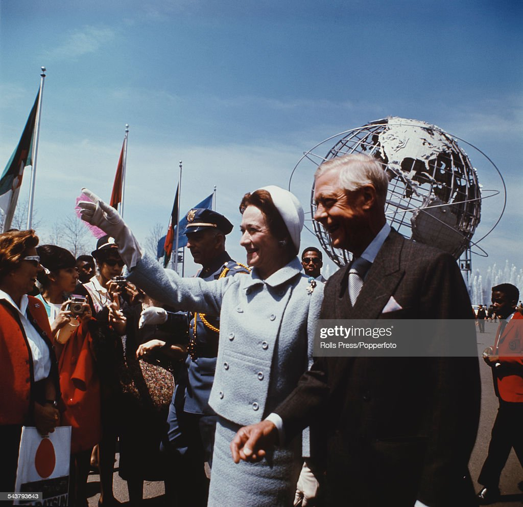 Prince Edward, Duke of Windsor (1894-1972), formerly Edward VIII, pictured with Wallis, Duchess of Windsor (1896-1986) (Wallis Simpson) during a visit to New York World's Fair on 5th June 1964.