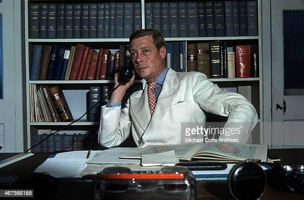 Prince Edward Duke of Windsor works in his office at the Government House in Nassau Bahamas circa 1942 Prince Edward