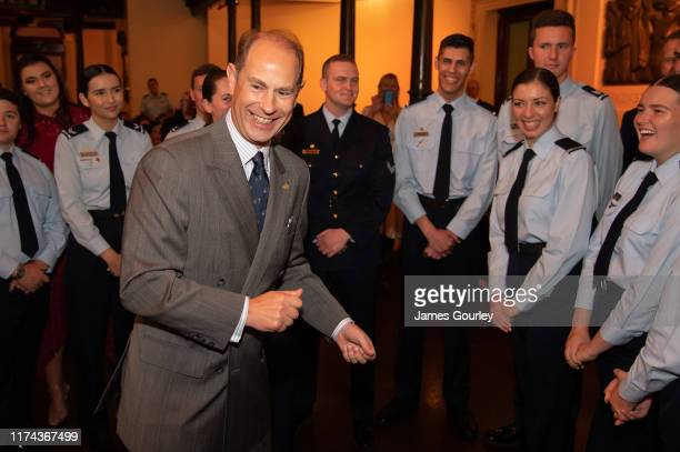 Prince Edward Earl of Essex speaking to Duke of Edinburgh's International Gold Award Recipients at Sydney Town Hall on September 13 2019 in Sydney...