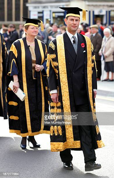 Prince Edward Earl of Wessex accompanied by Professor Dame Glynis Breakwell takes part in a procession after being installed as Chancellor of the...