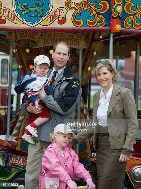 Prince Edward Earl of Wessex and and Sophie Countess of Wessex pose with their children James Viscount Severn and Lady Louise Windsor at the...