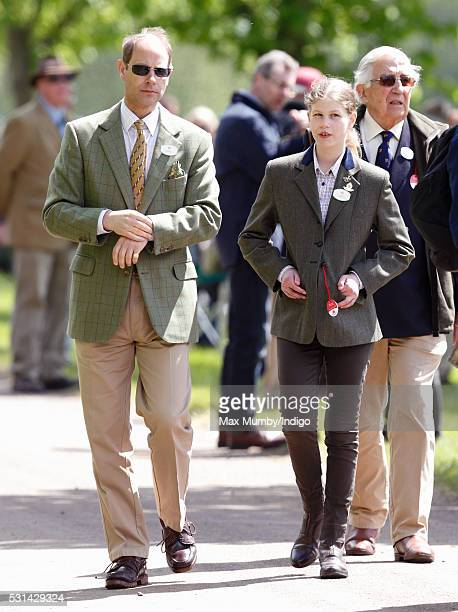 Prince Edward Earl of Wessex and daughter Lady Louise Windsor attend day 4 of the Royal Windsor Horse Show in Home Park on May 14 2016 in Windsor...