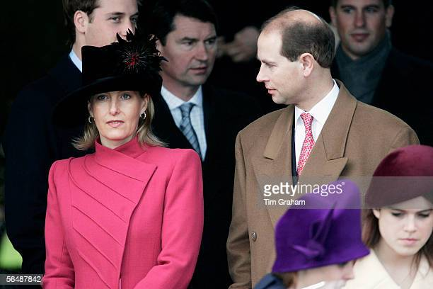 Prince Edward Earl of Wessex and his wife Sophie RhysJones Countess of Wessex attend Christmas Day service at Sandringham Church on December 25 2005...