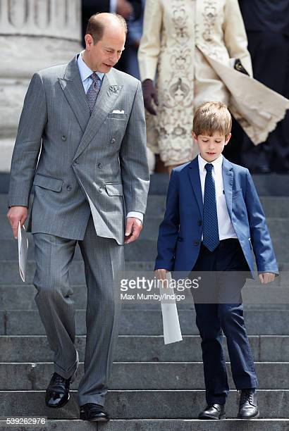 Prince Edward Earl of Wessex and James Viscount Severn attend a national service of thanksgiving to mark Queen Elizabeth II's 90th birthday at St...