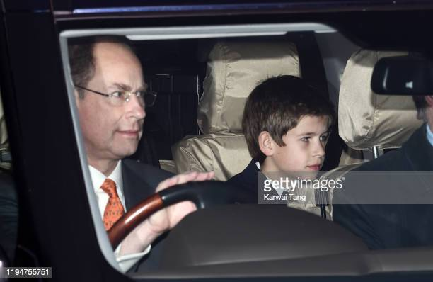 Prince Edward, Earl of Wessex and James, Viscount Severn attend Christmas Lunch at Buckingham Palace on December 18, 2019 in London, England.