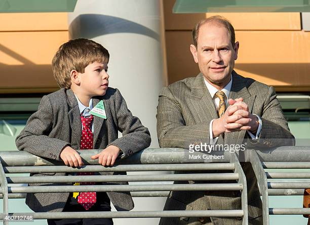 Prince Edward Earl of Wessex and James Viscount Severn attend The Christmas Meeting at Ascot Racecourse on December 20 2014 in Ascot England