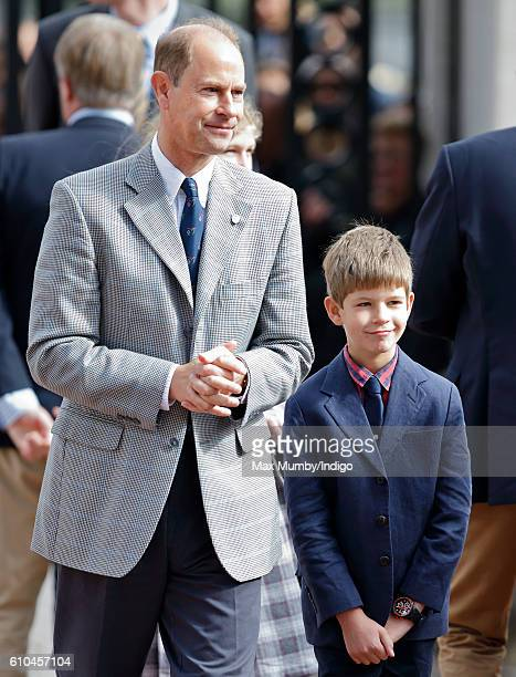 Prince Edward Earl of Wessex and James Viscount Severn await the arrival of Sophie Countess of Wessex at Buckingham Palace where she will complete...