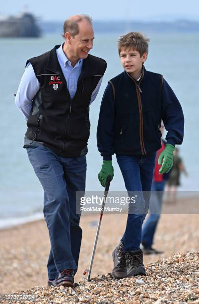 Prince Edward Earl of Wessex and James Viscount Severn take part in the Great British Beach Clean on Southsea beach on September 20 2020 in...