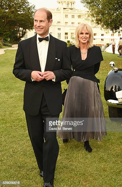 Prince Edward Earl of Wessex and Joanna Lumley attend the Duke of Edinburgh Award 60th Anniversary Diamonds are Forever Gala at Stoke Park on June 9...