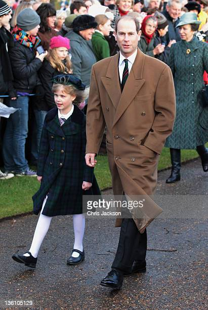 Prince Edward, Earl of Wessex and Lady Louise arrive at Sandringham Church for the traditional Christmas Day service at Sandringham on December 25,...
