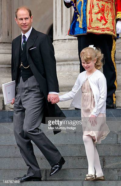 Prince Edward Earl of Wessex and Lady Louise Windsor attend a Service of Thanksgiving to celebrate Queen Elizabeth II's Diamond Jubilee at St Paul's...