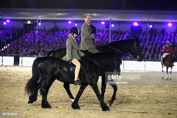 Prince Edward Earl of Wessex and Lady Louise Windsor ride out on the final night of Queen Elizabeth II's 90th Birthday Celebrations at Windsor on May...