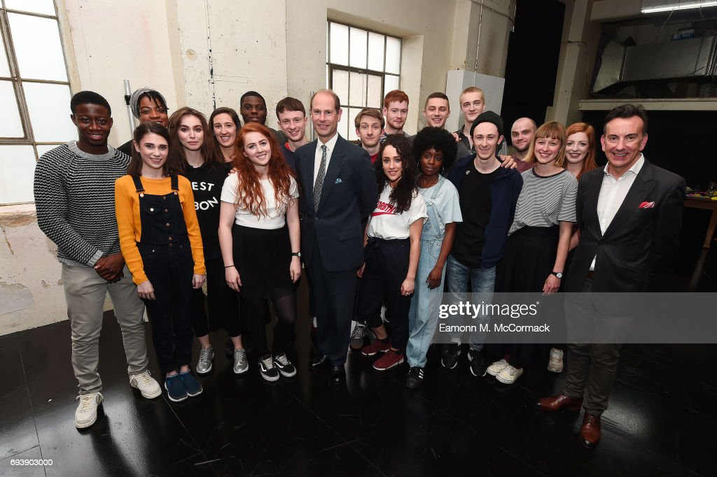 Prince Edward, Earl of Wessex and Paul Roseby with students of the National Youth Theatre on June 8, 2017 in London, England.